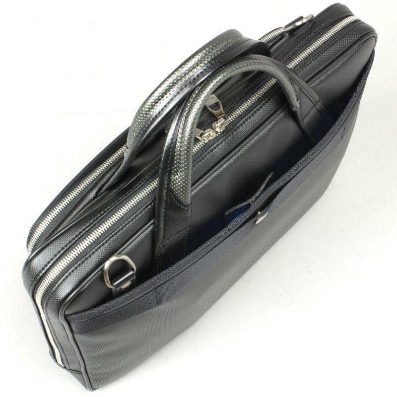 豊岡鞄 MIJ細マチブリーフ 背面にホック式オープンポケット