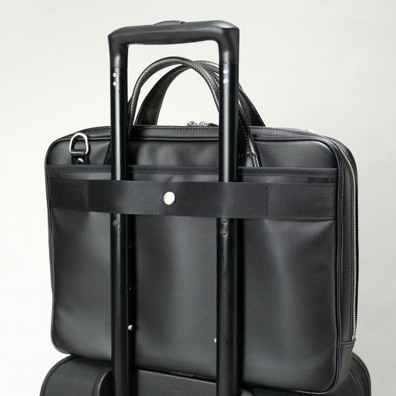 豊岡鞄 MIJ細マチブリーフ スーツケースとの併用に便利なキャリーオン機能