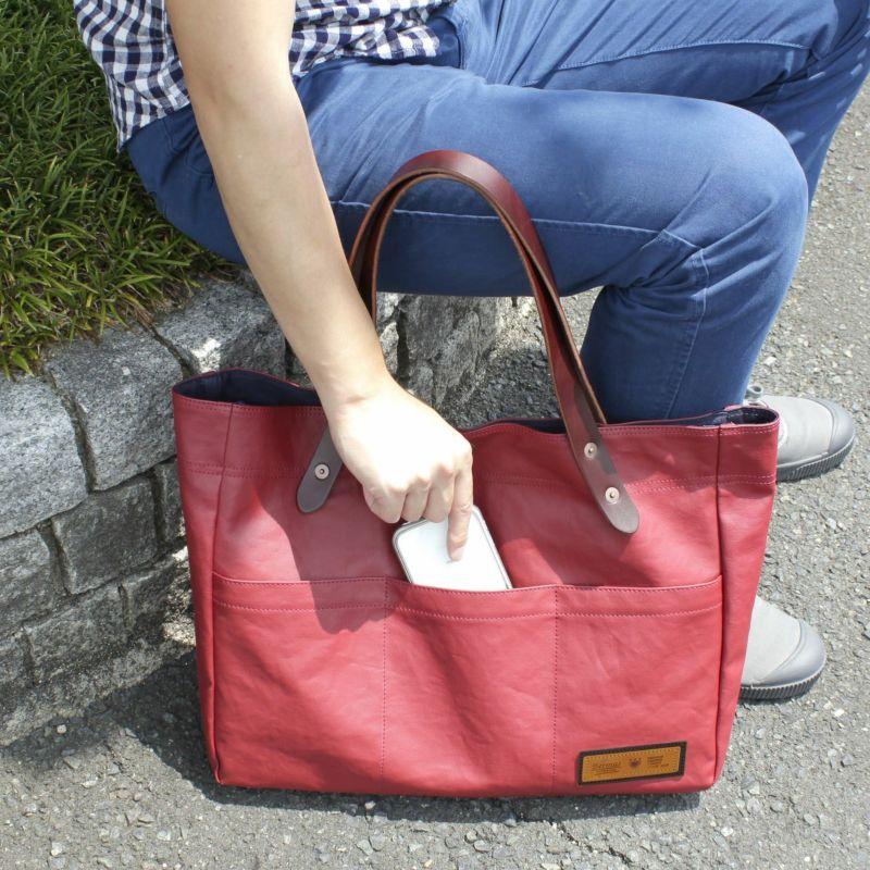 コミュート 横型トートバッグ たくさん荷物を入れてもきれいな形