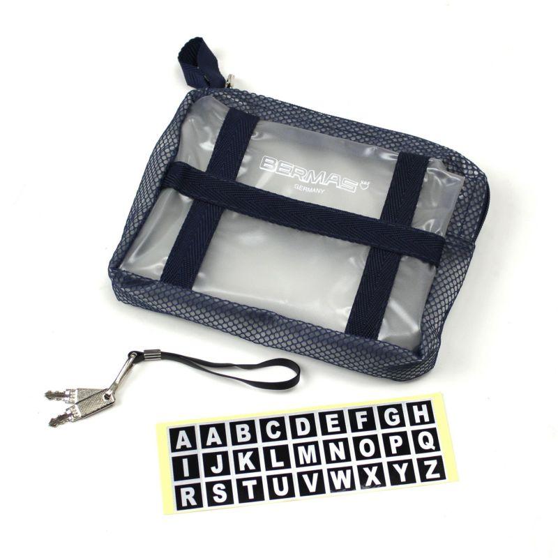 付属物のミニポーチ、鍵2本、アルファベットシール